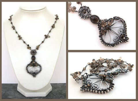 smokey silver necklace
