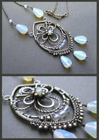 opalite and silver necklace by annie-jewelry