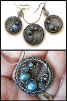 round labradorite set by annie-jewelry