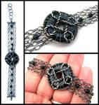 onyx silver chain bracelet by annie-jewelry