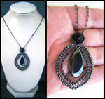 hematite and onyx necklace