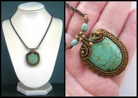 vintaj turquoise necklace by annie-jewelry