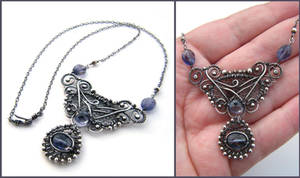 iolite silver necklace by annie-jewelry