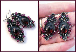 rhodolite garnet earrings by annie-jewelry