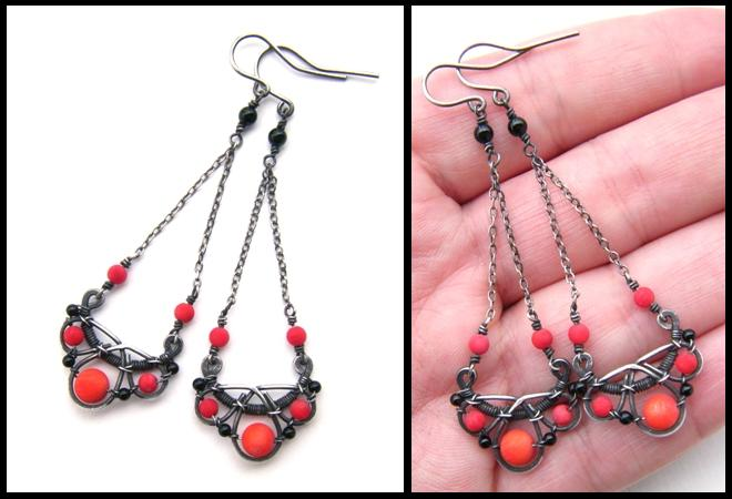 Red and black earrings by annie jewelry on deviantart for Red black and green jewelry