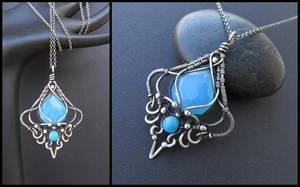 blue chalcedony jade silver necklace by annie-jewelry