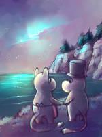 Moomins - Northern Lights by sulfurbunny