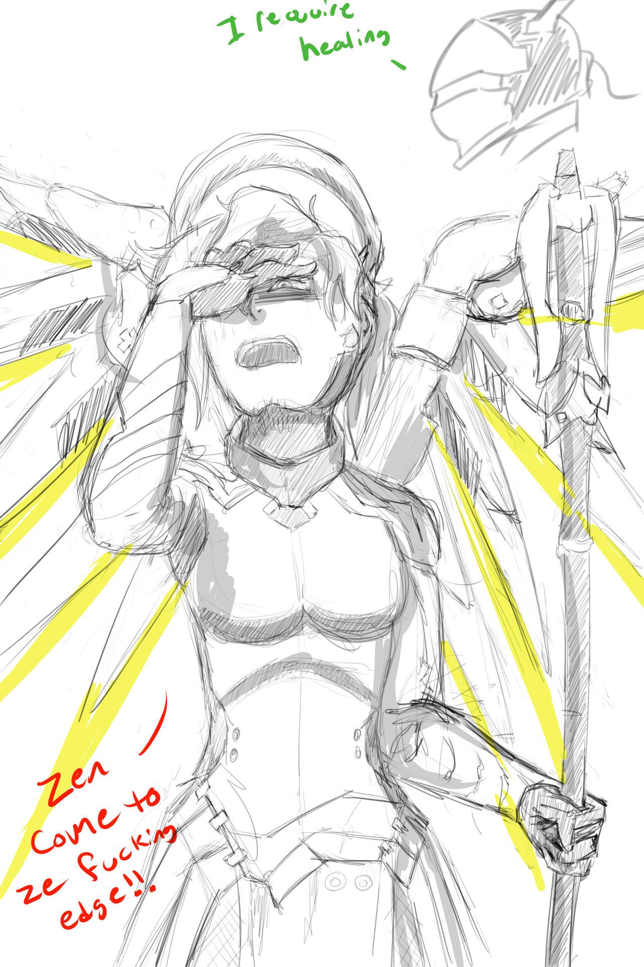 F:art- Mercy (sketch) by A-Fistful-Of-Kittens