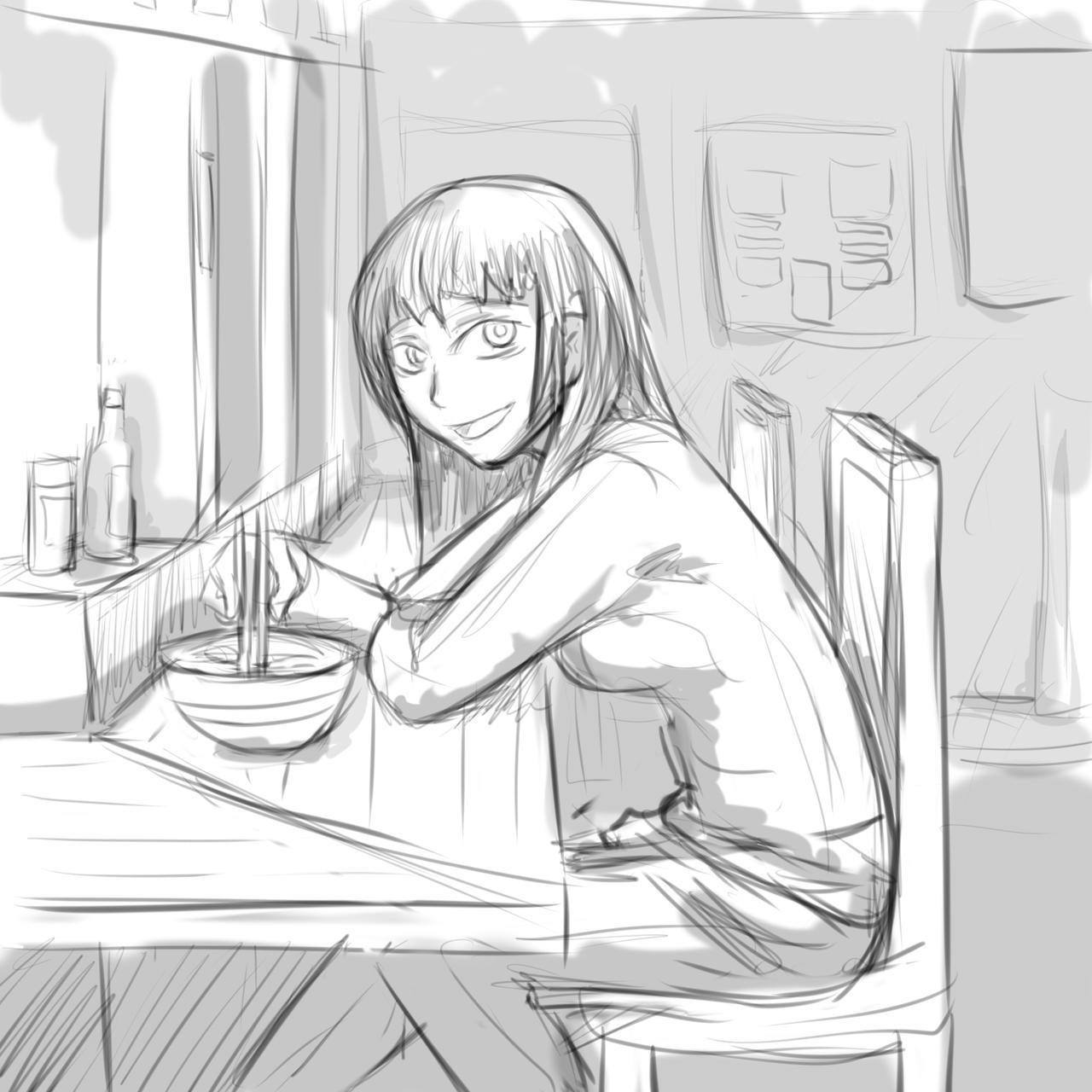 ramen (sketch) by A-Fistful-Of-Kittens