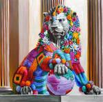Fierce lion... yarn bombed