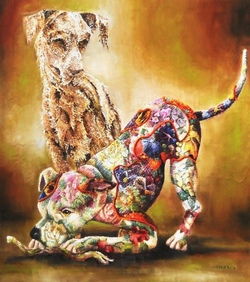 Textile dog sculptures by veracauwenberghs