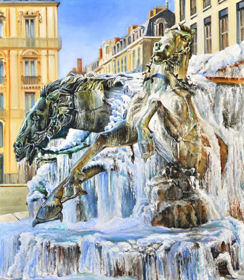 Frozen Bartholdi fountain (Lyon) by veracauwenberghs