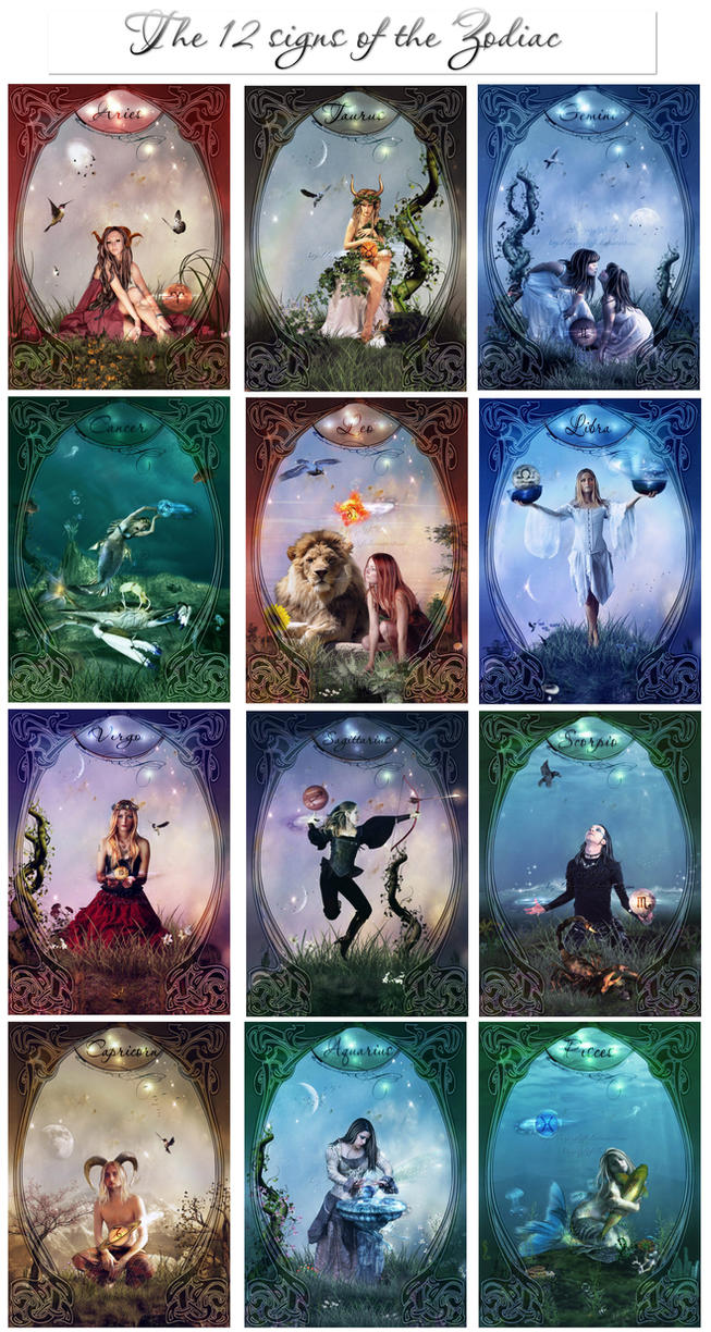 The 12 signs of the Zodiac by azurylipfe