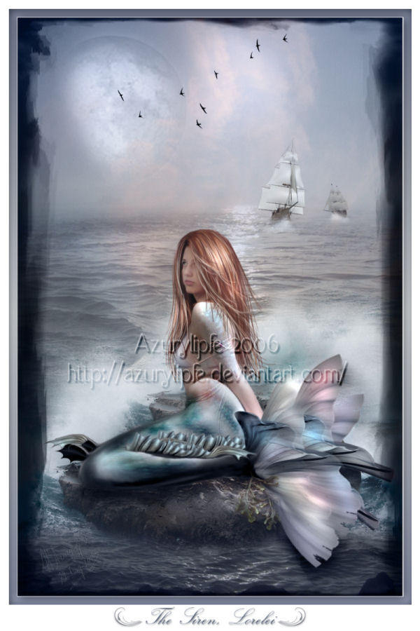 the lorelei and siren song A name that means mermaid or siren lorelei is close to the word spit in thai   lorelei has a lot of vintage things and loves the color blue  a siren who sits on  a rock in the rhine river in germany and lures sailors to their death with her song.
