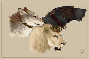 Sansa, Joffrey, and Sandor by Chipo-H0P3