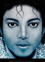 michael jackson blue portrait by magaliB
