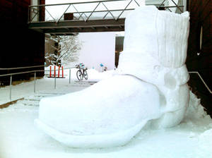 A Giant Snowboot