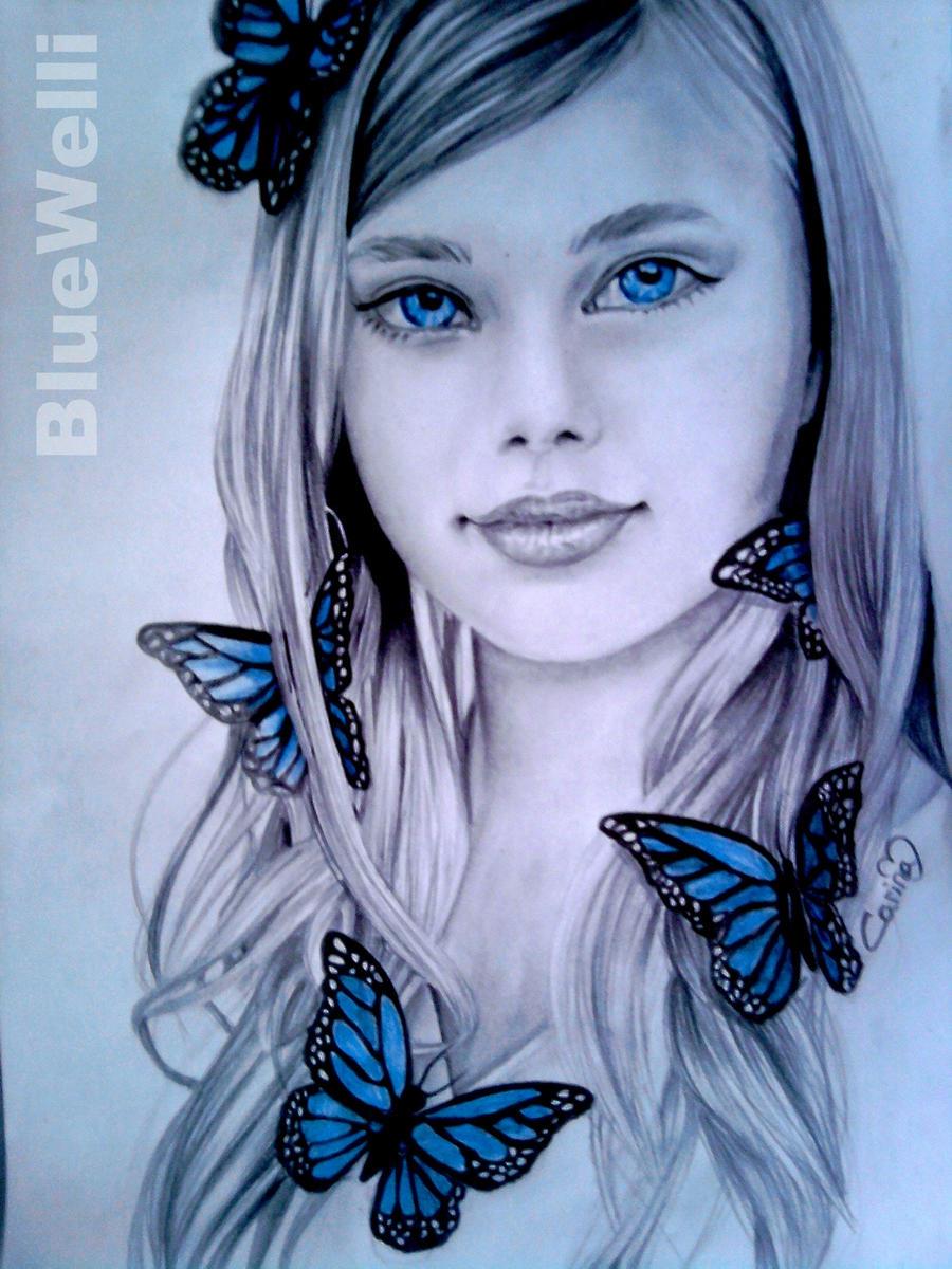 Blue Butterfly Girl by BlueWelli