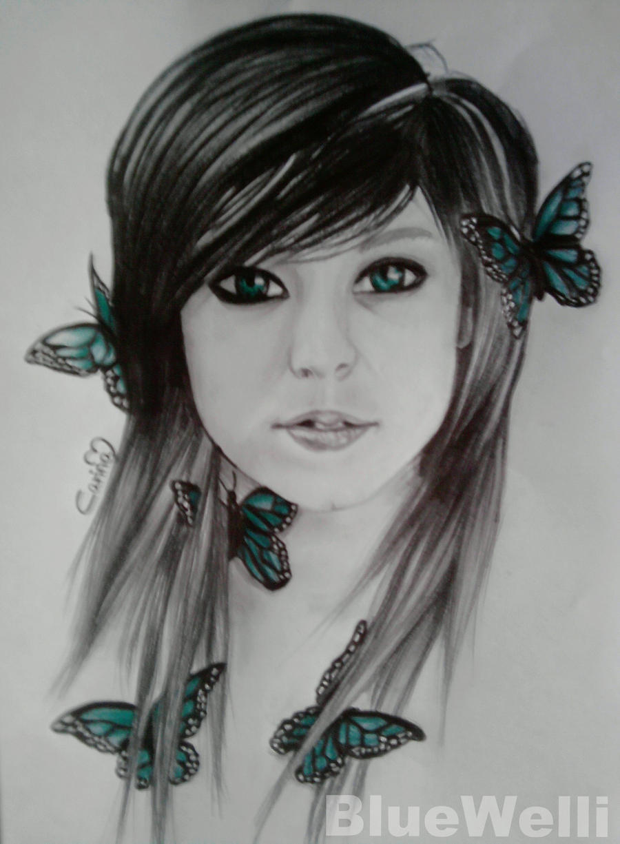 Green Butterfly Girl by BlueWelli