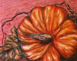 Pumpkin on a pink background by LasmejaLora