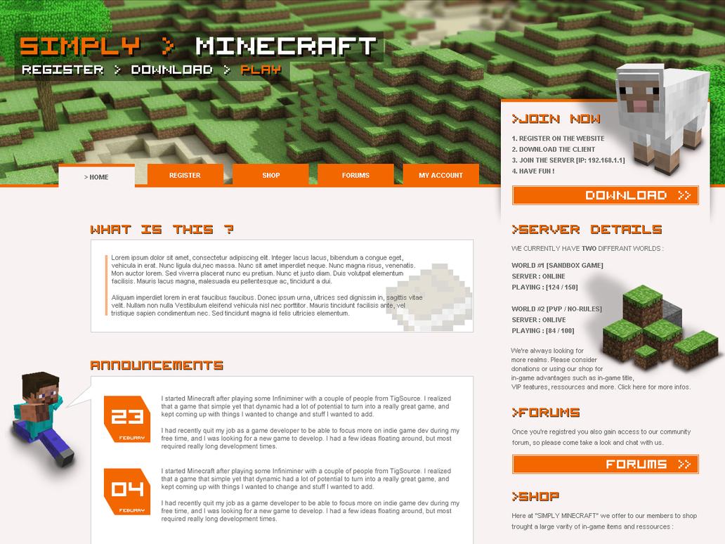 simply minecraft website by charlot2 on deviantart. Black Bedroom Furniture Sets. Home Design Ideas