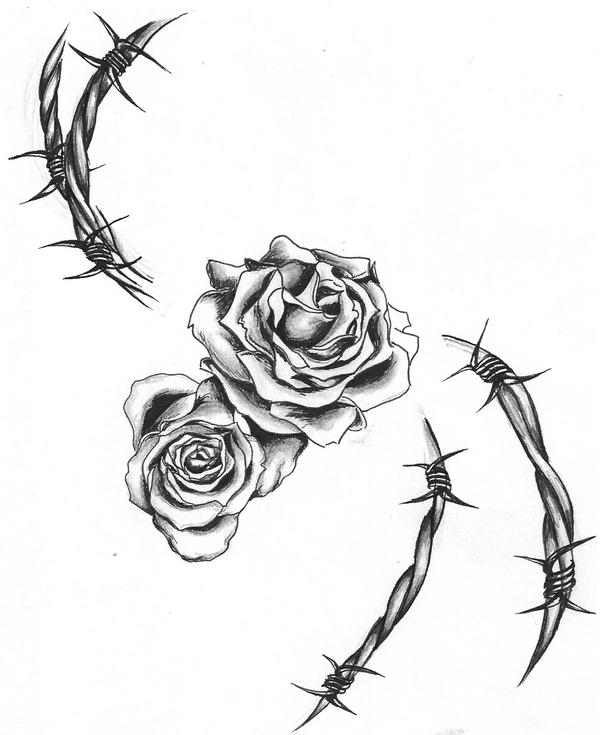 barbed wire heart drawing-#7