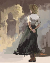 Girl in Hat in Cave