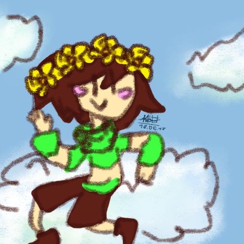 PF! Chara sitting in cloud by Kristalina-Shining