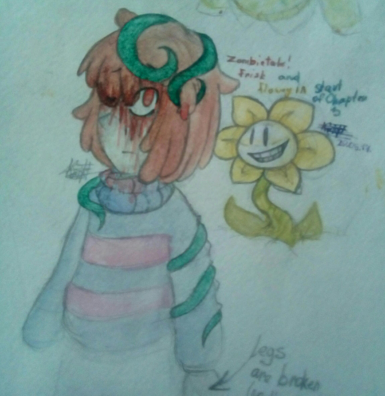 Watercolor of ZombieTale by Kristalina-Shining