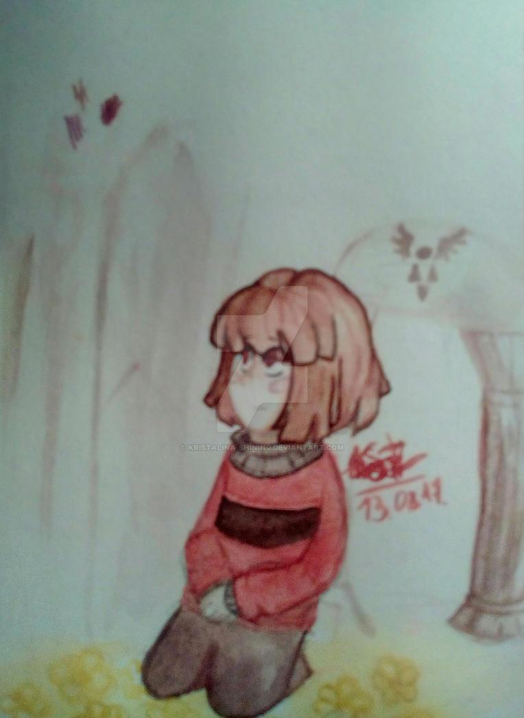 Watercolor. Underfell Chara. by Kristalina-Shining