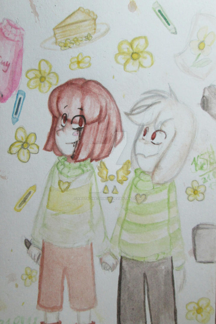 Together on till the end. (Watercolor UnderTale) by Kristalina-Shining