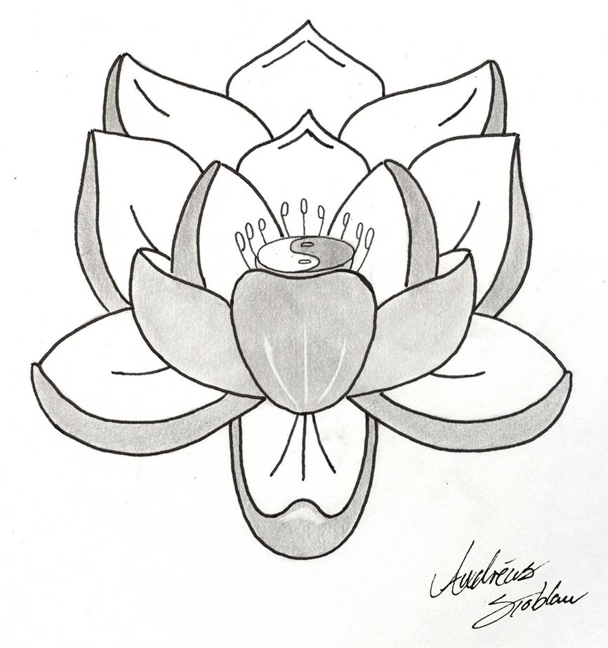 Simple Lotus Flower Tattoo Drawing