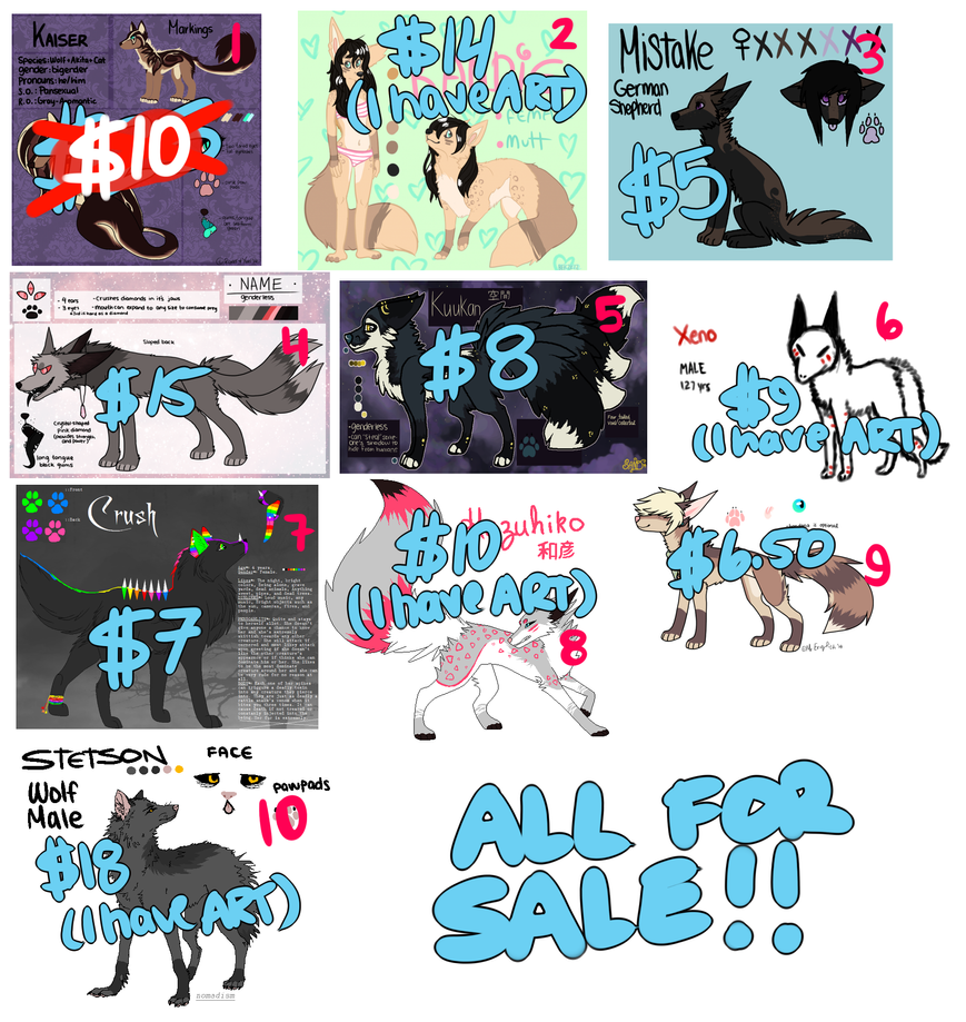 OLD OC'S FOR SALE [OPEN] by naeggi