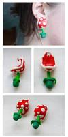 Piranha Plant Earrings by ButtonxMushroom