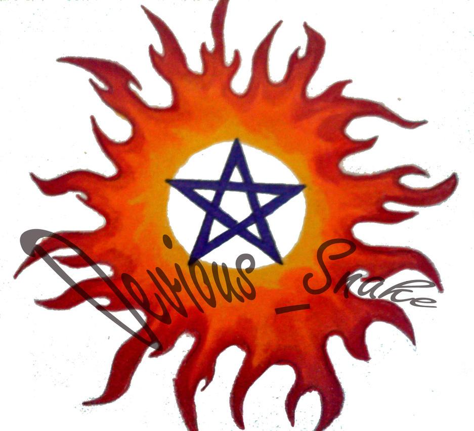 fire element pentagram tattoo by devious snake on deviantart. Black Bedroom Furniture Sets. Home Design Ideas