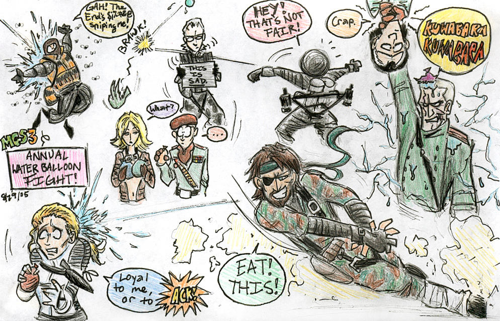 MGS3 Water Balloon Fight by Inonibird