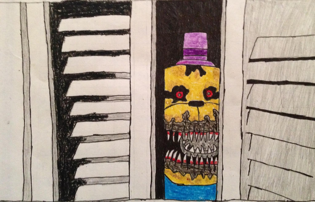 Nightmare Fredbear In The Closet Drawing By Cooldud111 ...