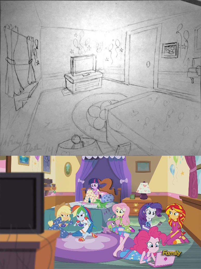 Pinkie's Room (RR) Reverse Angle Sketch by InfinityDash