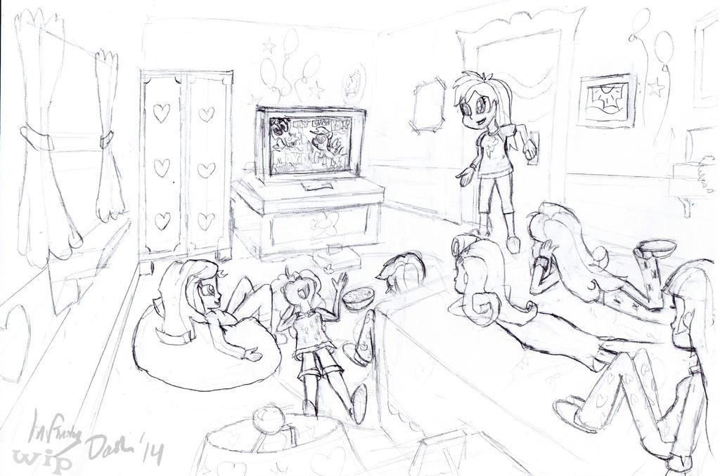 Mane 6+1 Movie Night (Sketch - WIP) by InfinityDash