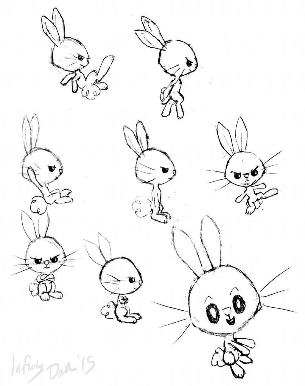 More Angel Bunny Poses (Sketch/Concept Art) by InfinityDash