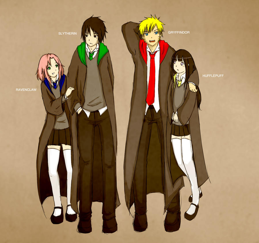 Anime Characters Hogwarts Houses : The four houses by thelightbulb on deviantart