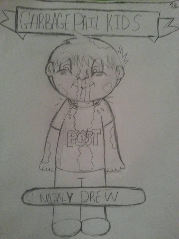 Garbage Pail Kid-Nasally Drew (Fanmade GPK) by TheMajesticManny