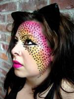 rainbow leopard makeup by beckawalley
