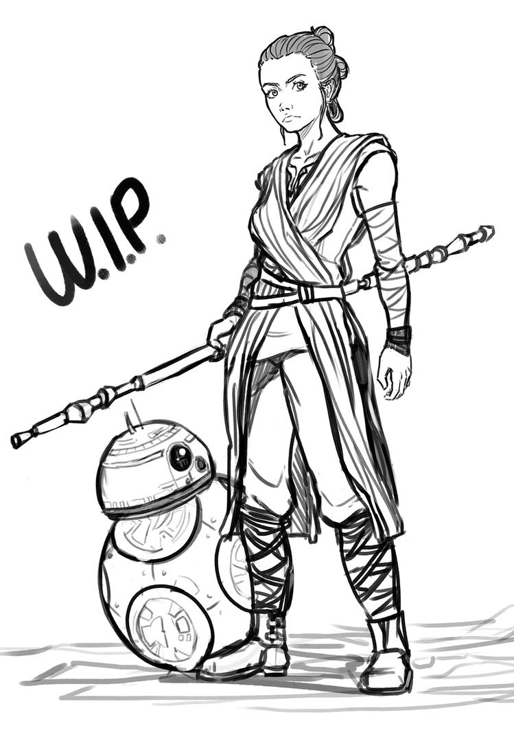 Star wars rey and bb 8 wip by exploom on deviantart for Star wars bb8 coloring pages