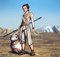 Star Wars - Rey and BB-8 by Exploom