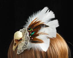 Bird skull fascinator experiment 2 side back view