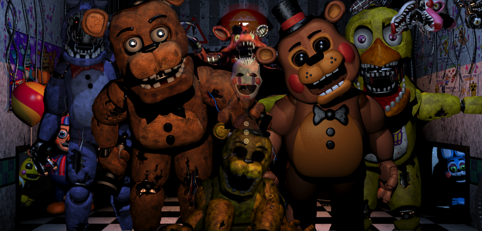 Five nights at freddys 2 all animatronicswallpaper by sander4820 on