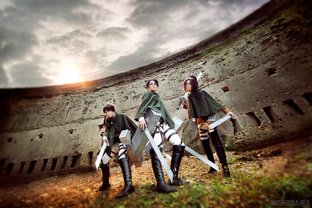 Shingeki no Kyojin - Hange, Levi, Eren by AlienOrihara