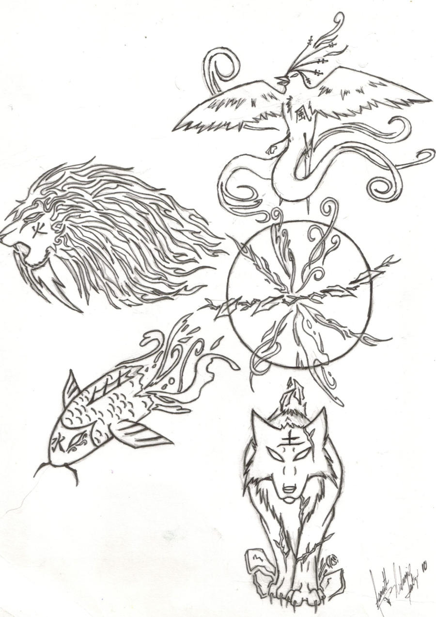 Four elements beasts tribal by asenath nightroad on deviantart - Tatouage 4 elements ...