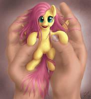 holding my tiny Fluttershy